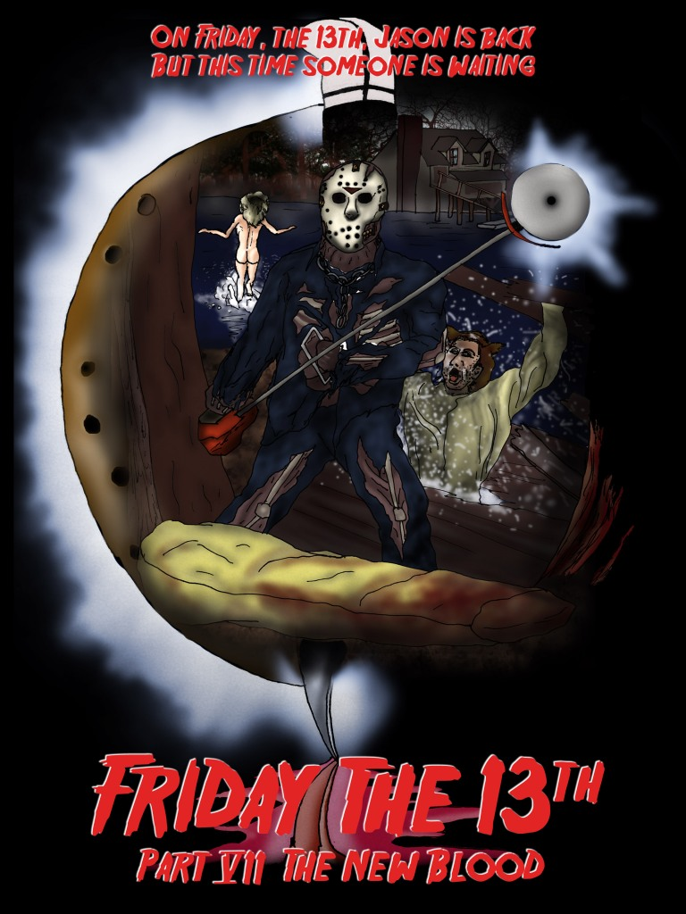 Fan art for Friday the 13th Part 7, hand drawn and inked, colored in Photoshop